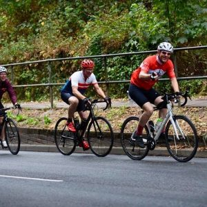 competing cyclists